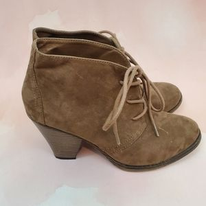 MIA Brown Lace Wedge Booties 8.5